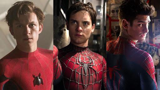 Da esquerda para a direita: Tom Holland, Tobey Maguire e Andrew Garfield. Imagens: divulgação Sony/Disney/Marvel Studios.