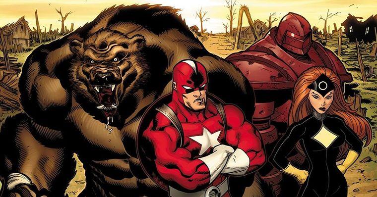 Da esquerda para a direita: Ursa Maior, Guardião Vermelho, Dínamo Escarlate e Estrela Negra. Imagem: divulgação Marvel Comics.