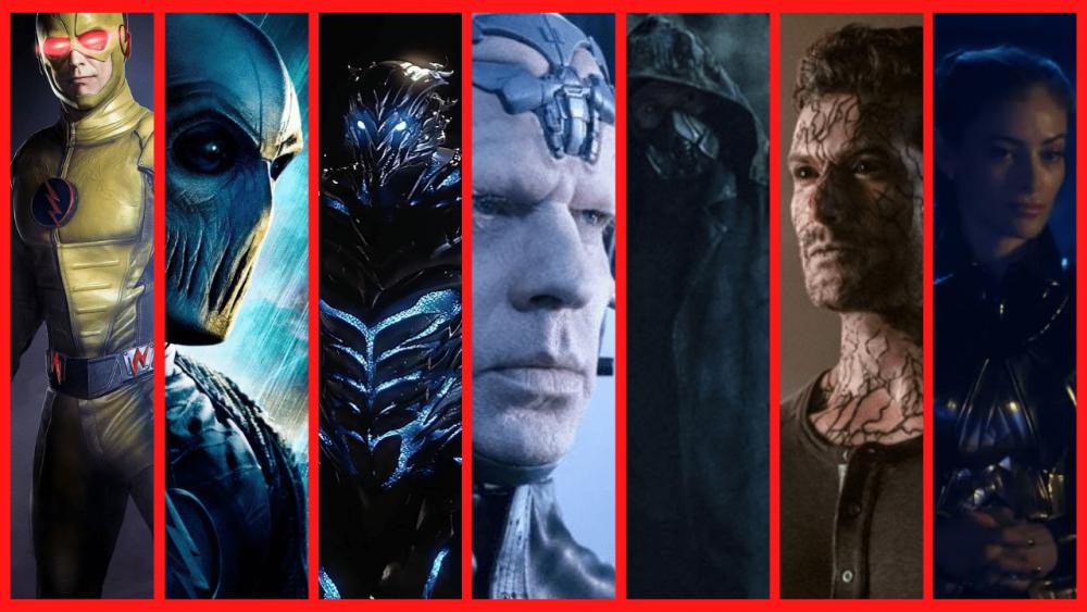 Vilões de The Flash em sequência: Flash Reverso, Zoom, Savitar, Pensador, Cicada, Hemoglobina e Eva McCulloch. Imagem: Reprodução.