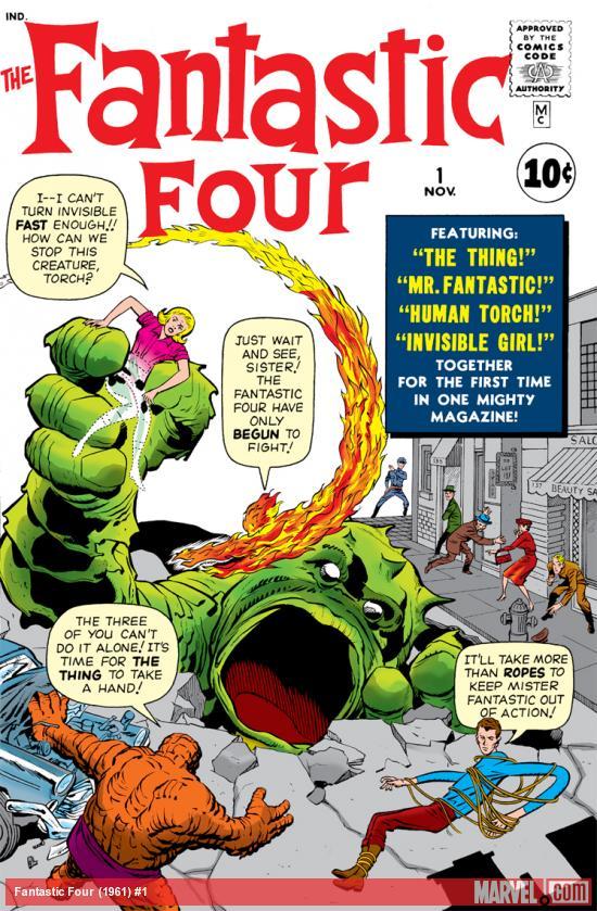 Capa de FANTASTIC FOUR #1, novembro de 1961. Imagem: Divulgação.