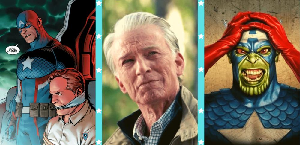 Capitão Hydra, Steve Rogers idoso e o Capitão América Skrull. Imagens: Divulgação.