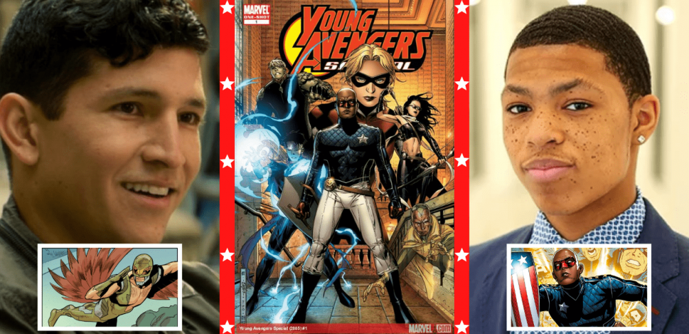 Joaquín Torres (Danny Ramirez), Capa de Young Avengers Special (2005) #1 e Elijah Bradley (Elijah Richardson). Imagens: Divulgação
