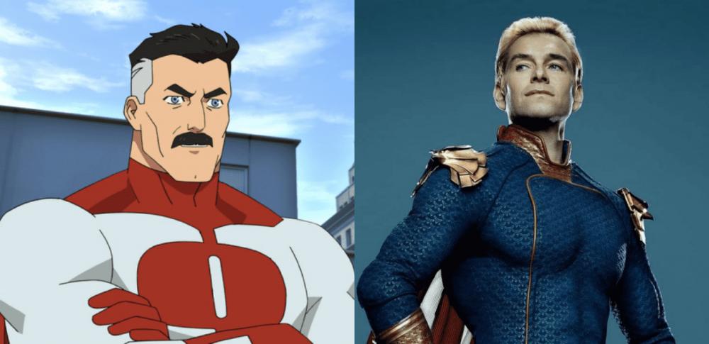 Omni-Man e Capitão Pátria/Homelander. Imagens: Divulgação.